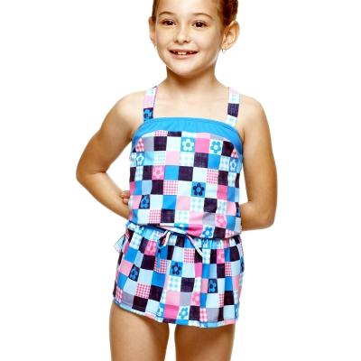 泳裝方格紋圍兜造型兩件式女童泳裝聖手牌