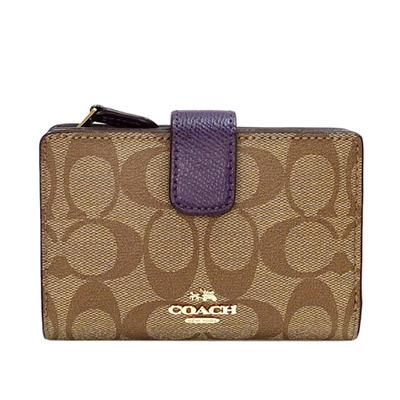 COACH卡其C-Logo紫邊文字飾牌拉鍊袋中夾