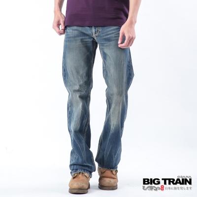 BIG TRAIN 多線車縫中直筒褲-男-中藍