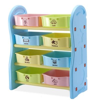 IDEA-繽紛淡彩兒童四層玩具收納架