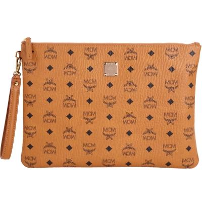 MCM STARK 品牌圖騰設計萬用大型手拿包(棕色)