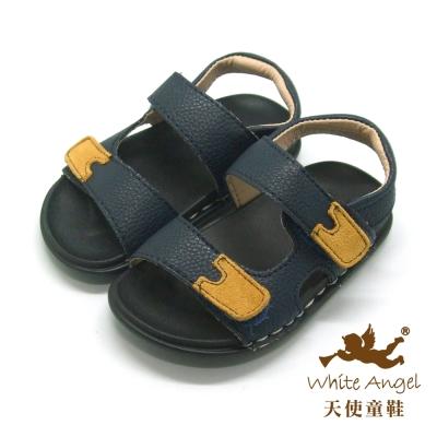 天使童鞋-F521 簡約休閒中性涼鞋(小童)-深藍