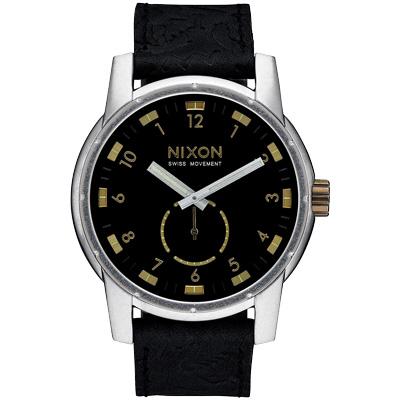 NIXON PATRIOT LEATHER 獨領風騷復古時尚腕錶-金X黑/45mm