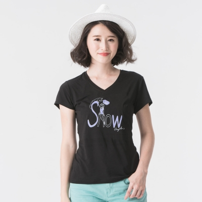 【SNOWFOX 雪狐】生命奇蹟陳寧悅聯名圖T恤/女款V領短袖 AT-81620W黑