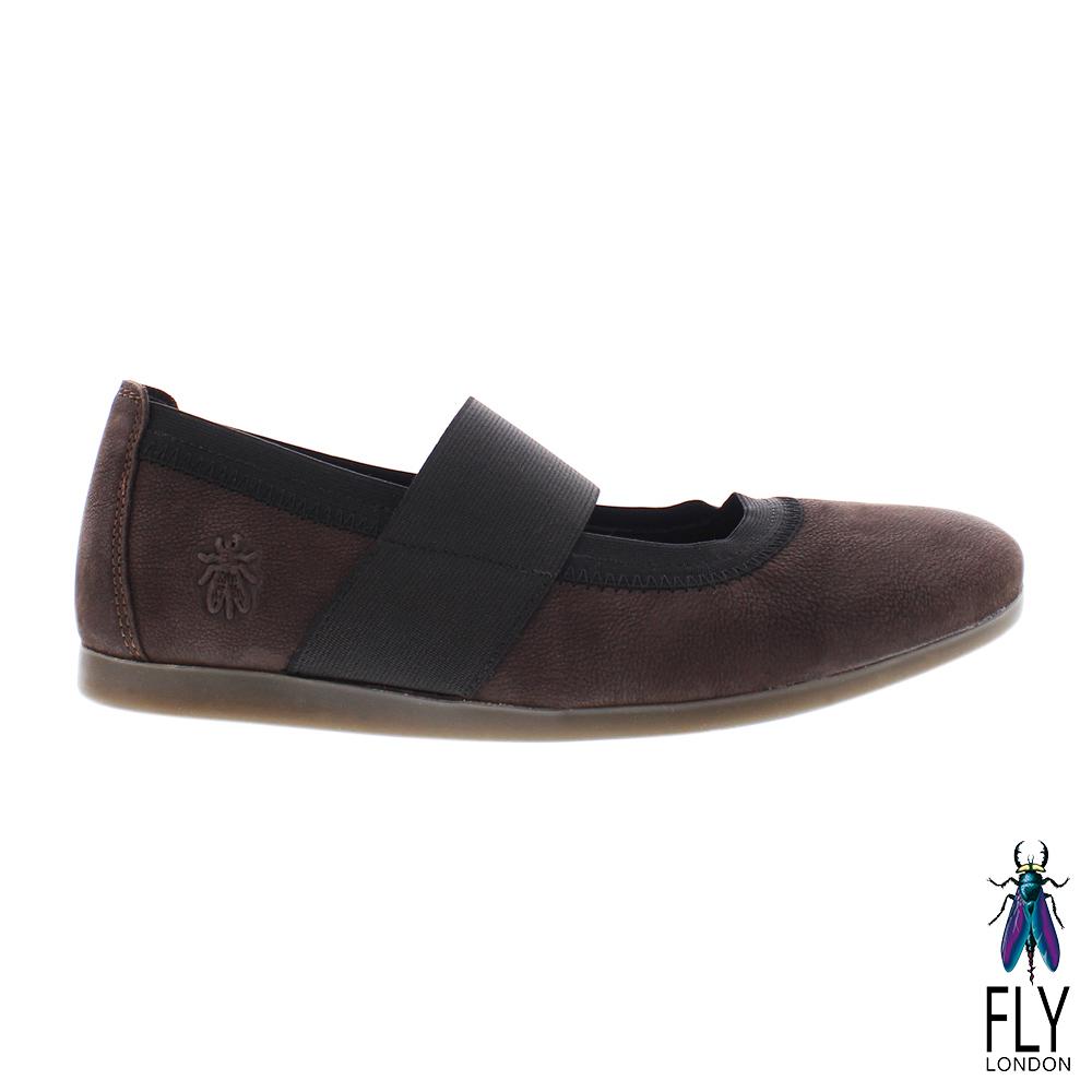 Fly London(女) 綁帶牛皮娃娃鞋-深咖