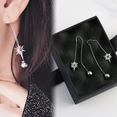 梨花HaN 韓國925銀星芒滿鑽灰色珍珠耳線長耳環