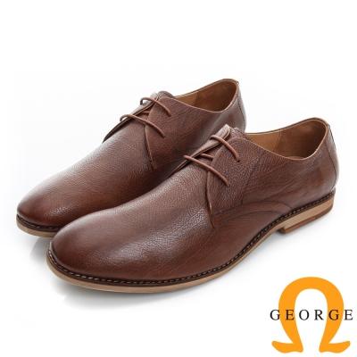 GEORGE 喬治-超輕量荔枝紋真皮繫帶休閒鞋-淺棕色