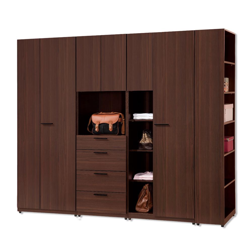 Bernice-伊多8尺組合衣櫃(單門+雙門+四抽+邊櫃)-240x60x197cm