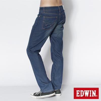 EDWIN 大尺碼COOL RELAX中直筒牛仔褲-男款(石洗藍)