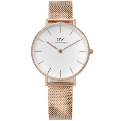 Daniel Wellington Classic米蘭編織不鏽鋼手錶-白x玫瑰金/32mm