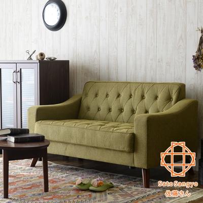 Sato ASHBY時光倒帶復古雙人布面沙發 橄欖綠