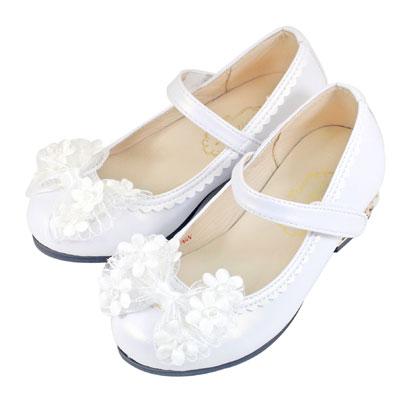 Swan天鵝童鞋-小花網紗蝴蝶結珠光低跟公主鞋 3825-白