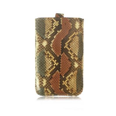 ACUBY 限量單品手工蛇皮手機袋/豹紋棕