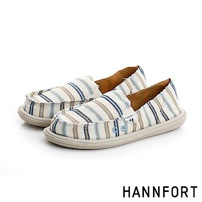 HANNFORT COZY俐落條紋氣墊休閒鞋-女-清新藍