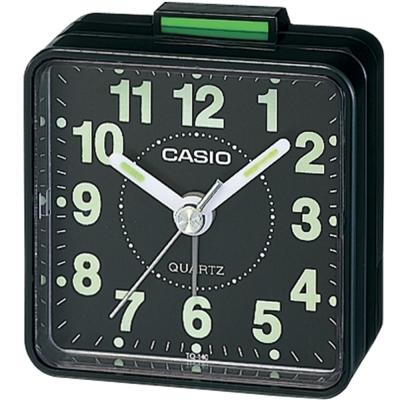 CASIO 經典輕巧桌上型指針鬧鐘-黑面X黑殼(TQ-140-1D)