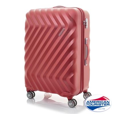 AT美國旅行者 28吋Zavis立體閃電防刮耐磨飛機輪硬殼TSA行李箱(紅織紋)