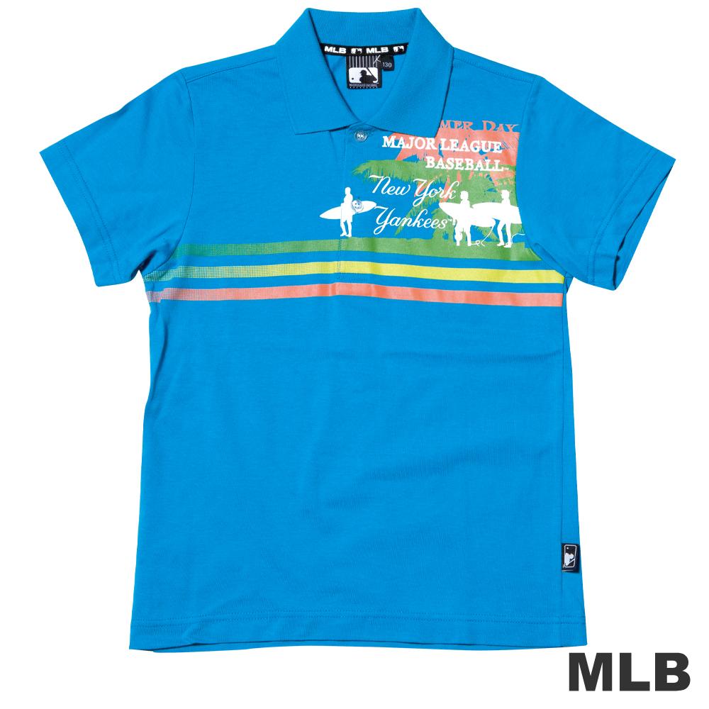 MLB-紐約洋基隊渡假風格POLO衫-淺藍男童