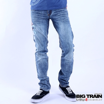 BIG TRAIN 墨龍小直筒褲-男-中藍