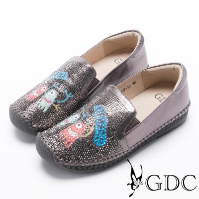 GDC-真皮水鑽趣味小怪獸懶人休閒鞋-槍灰色