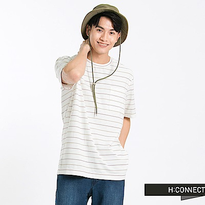 H:CONNECT 韓國品牌 男裝 -色彩條紋口袋T-Shirt-白