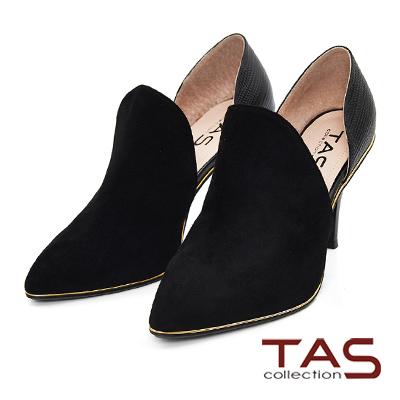 TAS-鏤空前包式異材質尖頭高跟鞋-氣質黑