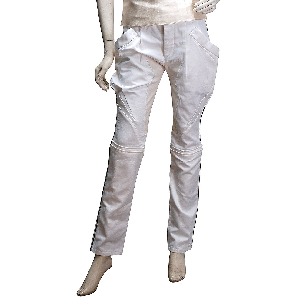 BALENCIAGA 美型車工黑線側邊棉質修身長褲(白)