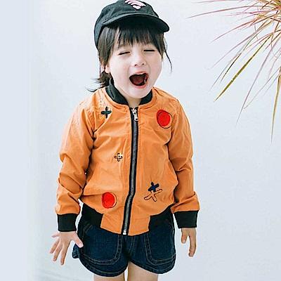 Baby unicorn 橘咖塗鴉刺繡長袖外套