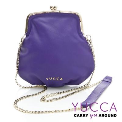 YUCCA - 軟牛皮復古轉釦鍊帶小包-紫色D0091007C6