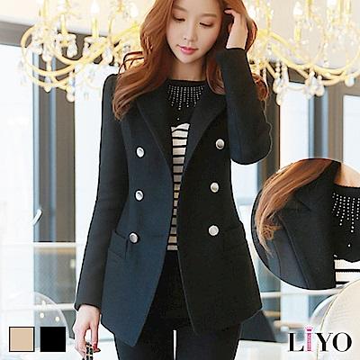 外套翻領顯瘦雙排扣口袋名媛女西裝毛呢保暖大衣LIYO理優