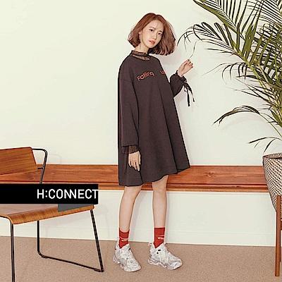 H:CONNECT 韓國品牌 女裝 - 透膚圓點蕾絲上衣 - 黑