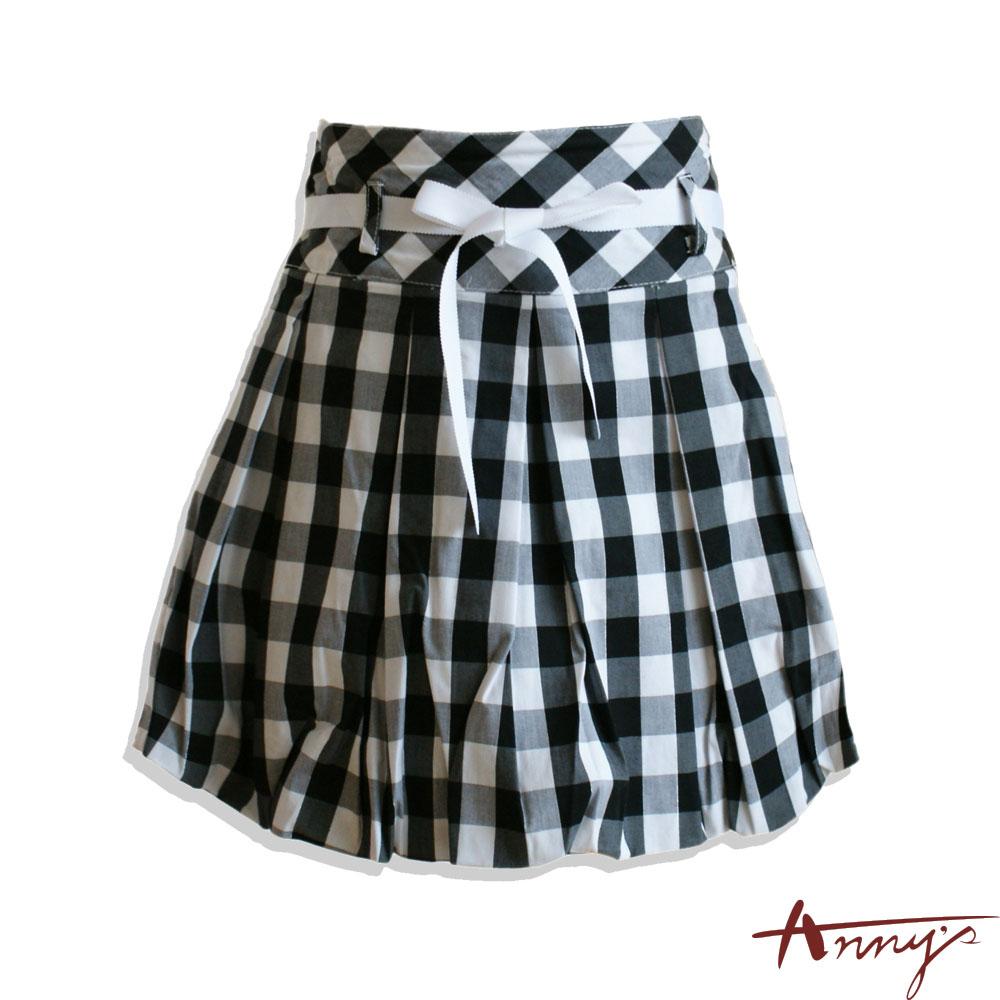 格紋高腰蝴蝶結緞帶短裙*9170黑