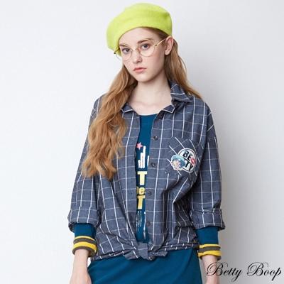 Betty Boop 棉質格紋長版牛仔襯衫(共二色)