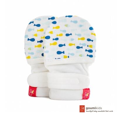 美國 GOUMIKIDS 有機棉嬰兒手套 (小魚群-萌漾)
