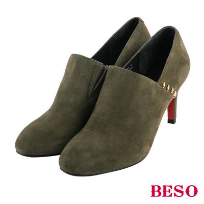 BESO絕美線條 美型裝飾五金全真皮踝靴~墨綠