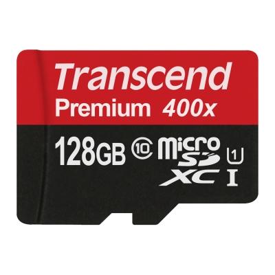 創見 128G microSDXC Class 10 U1 400x記憶卡(附轉接卡)