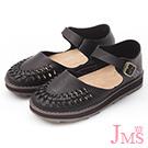 JMS-氣質學院風編織手作感厚底娃娃鞋-黑色