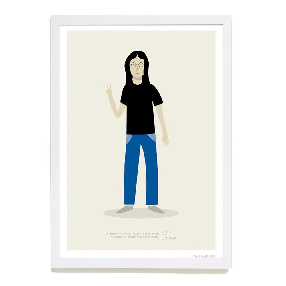 【摩達客】西班牙插畫家Judy Kaufmann海報掛畫-約翰藍儂 (附簽名)(含木框)