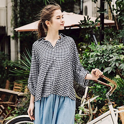 CACO-休閒配色格紋襯衫(兩色)-女【PSH195】