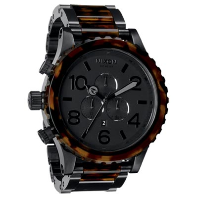 NIXON 51-30 CHRONO 300米深海潛龍運動腕錶-玳瑁黑/51mm