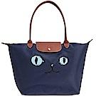 Longchamp 藍色貓咪圖騰長背帶折疊水餃包(大)