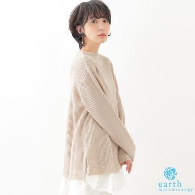 earth music 中長版下擺拼接襯衫針織上衣