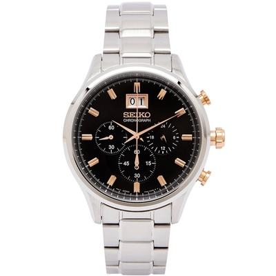 SEIKO 耀眼尊爵風男性計時手錶(SPC151P1)-灰黑面x玫瑰金/42mm