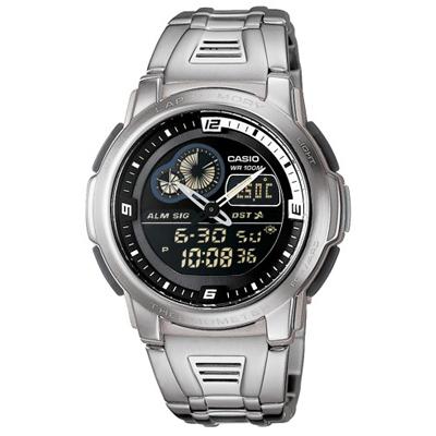 CASIO 測溫雙顯不鏽鋼休閒錶(AQF-102WD-1B)-黑/43mm