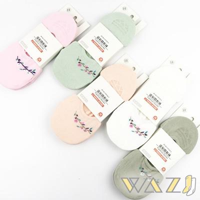 Wazi-小清新繡花防滑船襪隱形襪 (1組五入)