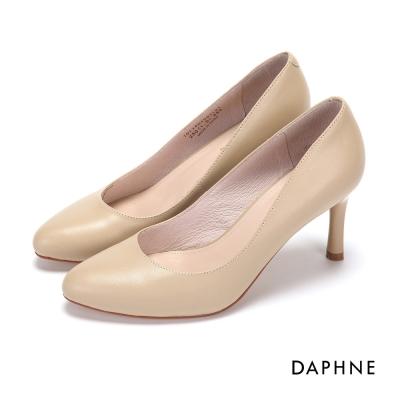 達芙妮DAPHNE 高跟鞋-經典基本款真皮素面高跟鞋-米