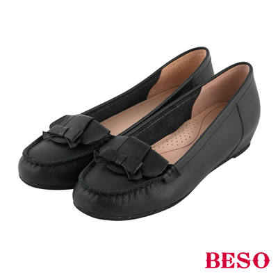 BESO 永恆優雅 蝴蝶結內增高全真皮平底鞋~黑