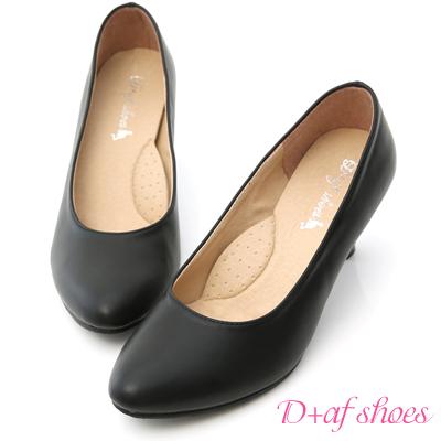 D+AF 知性品味‧MIT素面微尖頭6cm中跟鞋*黑