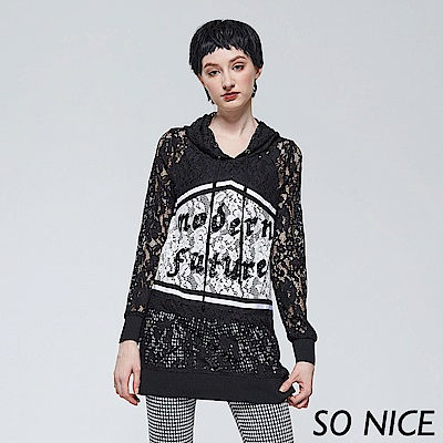 SO NICE浪漫蕾絲連帽長上衣-動態show