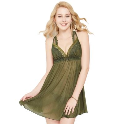思薇爾 撩波系列連身蕾絲性感小夜衣(棲綠色)