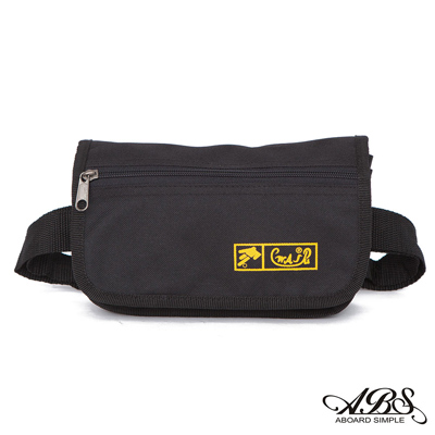 ABS愛貝斯 台灣製造輕量防潑水多層腰包 6層設計可以分類各幣別(黑)720